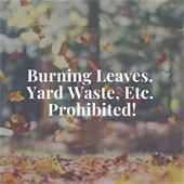 Burning Leaves, Yard Waste, Etc. Prohibited!